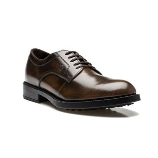 Tod's Men's Leather Derby Liscia Esquire Giovane Oxford Dress Shoes Brown