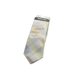 Kenneth Cole Reaction NEW Gold Fine Plaid Men's Neck Tie Silk Accessory 427