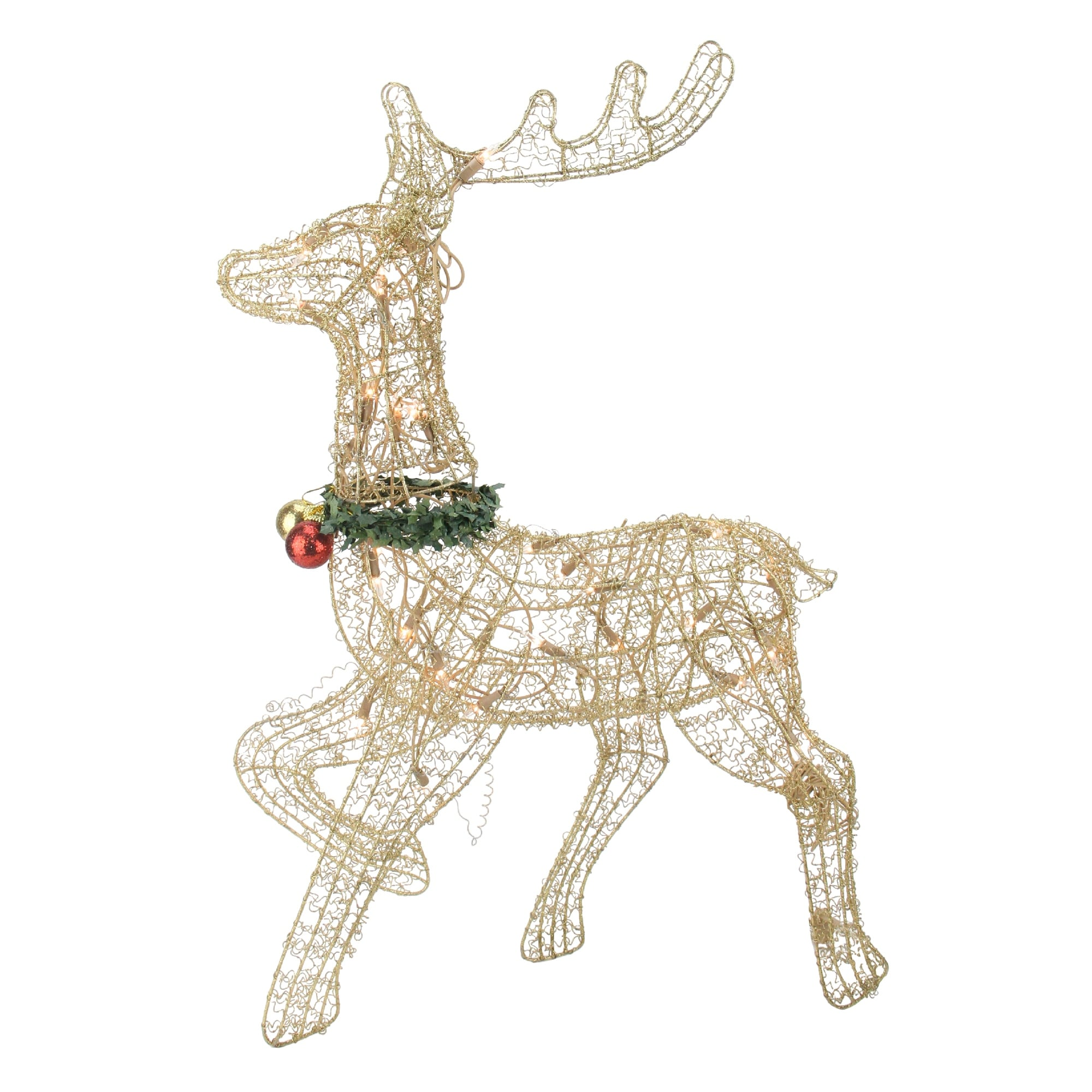 """25"""" Lighted Gold Prancing Reindeer Outdoor Christmas Decor"""