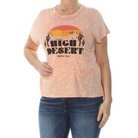 LUCKY BRAND Womens Coral Printed Short Sleeve Jewel Neck T-Shirt Top  Size: L