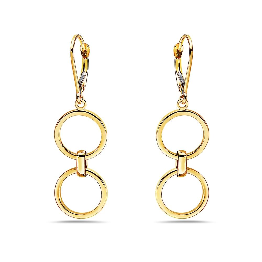 Details about  /14k 14kt Yellow Gold Fancy Dangle Post Earrings