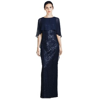 Teri Jon Sequined Cape Overlay Column Evening Gown Dress