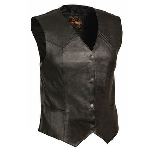 Womens Classic Leather Four Snap Vest