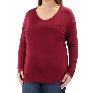 Womens Maroon Long Sleeve V Neck Hi-Lo Top Size XL