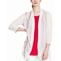 Nic+Zoe White Multi Womens Size Small S Open Front Cardigan Sweater
