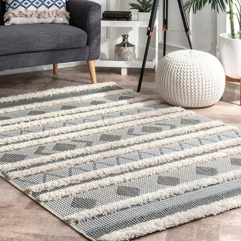 The Curated Nomad Lovers High Low Casual Geometric Aztec Striped Shag Area Rug
