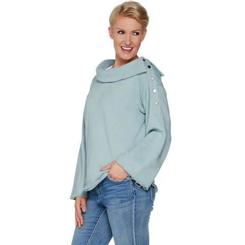 Peace Love World Womens Asymmetrical Neck Top with Button Detail M Blue A301626