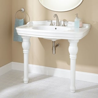 """Signature Hardware 401082 Palais 40"""" Console Sink with 3 Faucet Holes at 8"""" Centers - White - N/A"""