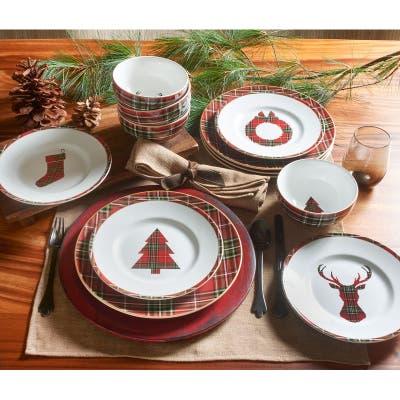 222 Fifth Wexford 12 Piece Dinnerware Set, Red