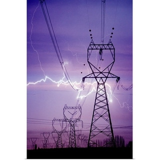 """Lightning storm near powerlines."" Poster Print"
