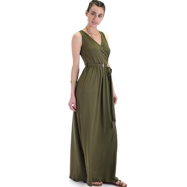 95bb36b4cb Shop All Mine Sleeveless Crossover Wrap Maxi Dress -Olive-Medium - Free  Shipping Today - Overstock - 23108780