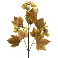 """Pack of 6 Fall Harvest Mustard Artificial Norway Maple Leaf Sprays 33"""""""