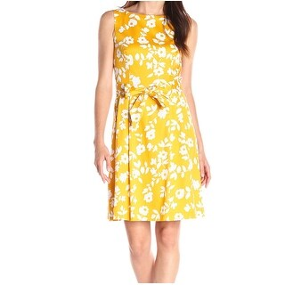 Anne Klein NEW Yellow Women's Size 6 Floral Print Belted Pleated Dress