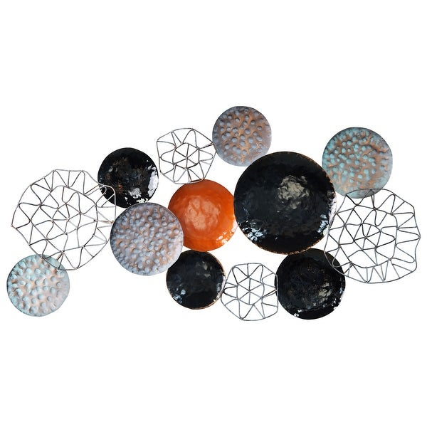 Colorful Hand Painted Etched Metal Wall Sculpture