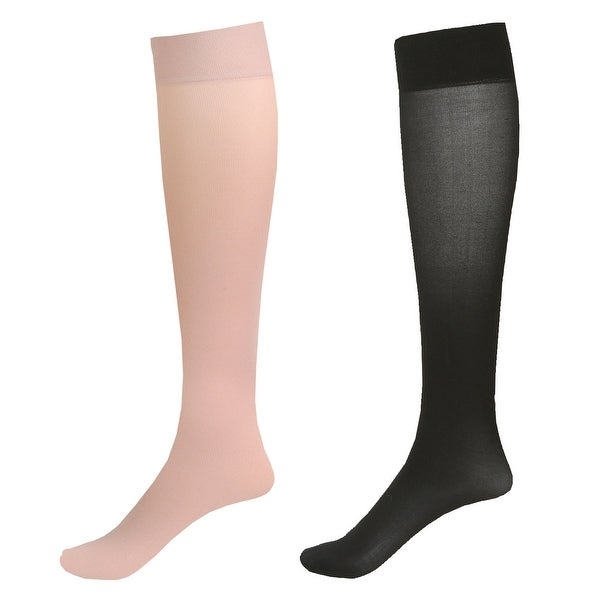 Mild Support 2 Pair Knee High Trouser Socks with 8-15 mmHg Compression - Pale Beige/Black - Medium