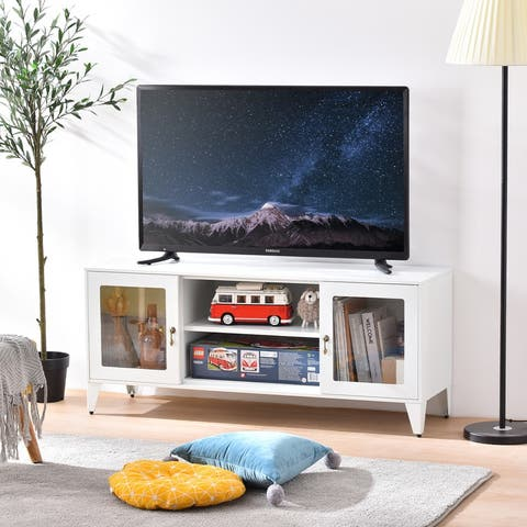 AOOLIVE Modern TV Stand With 3 Open shelf and 2 Doors,TV Cabinet