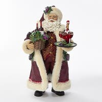 """11.5"""" Purple and White Serving Santa Claus with Wine Basket Figurine"""