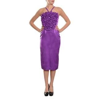 Marc Bouwer Vibrant Silk Ruffle Textured Evening Dress - 4