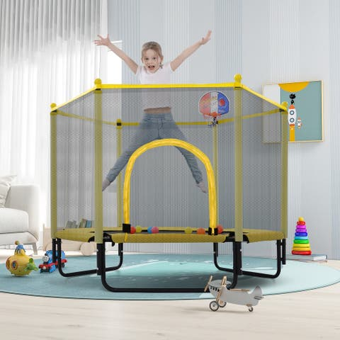 TiramisuBest 5FT Trampoline with Safety Enclosure Net