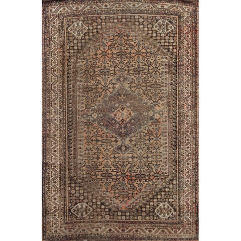 """Antique Shiraz Persian Living Room Area Rug Hand-knotted Wool Carpet - 7'1"""" x 10'2"""""""