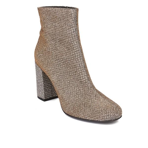 Saint Laurent Women's Babies 90 Ankle Boot Heel Shoes Gold Silver