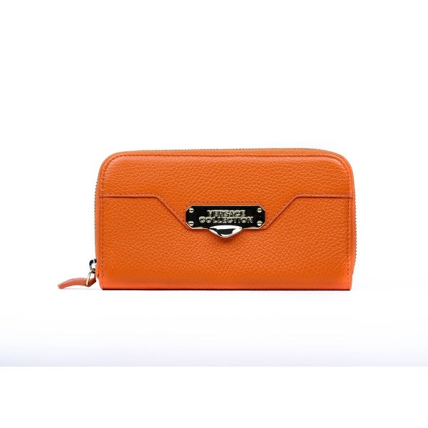 Versace Collection Orange Grained Leather Zip Around Continental Wallet