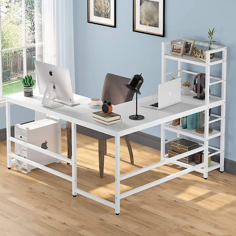 Tribesigns 59 Inch L Shaped Computer Desk with 4-Tier Storage Shelves