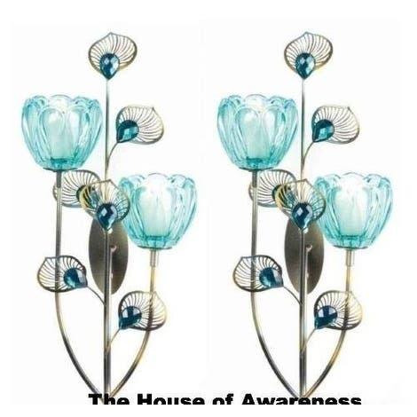 2 Peacock Blossom Duo Cup Sconces - Turquoise