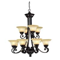 Dolan Designs 1082 12-Light 2 Tier Up Lighting Chandelier from the Brittany Collection - Deep Bronze