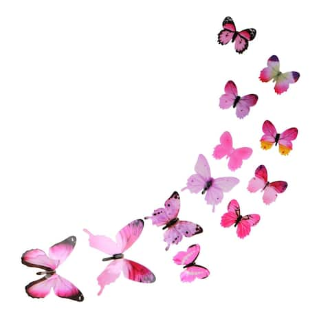 Butterfly Wall Sticker Decal Paper Stickers for Bedroom Decoration Pink