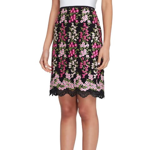 Tahari by ASL Womens Skirt Black Size 12P Petite Embroidered Pencil