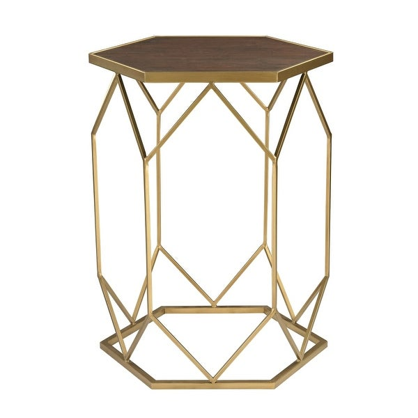 Sterling Industries 51 010 Hexagon Frame Side Table Gold
