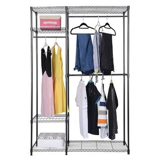 Costway 48''x18''x71'' Closet Organizer Garment Rack Portable Clothes Hanger Home Shelf - as pic