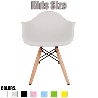 2xhome Kids Plastic Chair With Arms Armchair For Dining Kitchen Living Bedroom Desk Student School Modern Eiffel Wood Dowel Leg