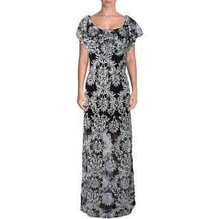 Aqua Womens Embroidered Prom Evening Dress