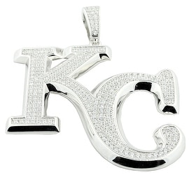 Sterling Silver Kansas City Charm With CZ Pave Set Mens Pendant 59mm Tall KC By MidwestJewellery