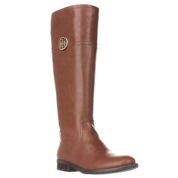 Tommy Hilfiger Silvan2 Wide Calf Logo Riding Boots, Light Brown
