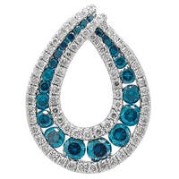 Prism Jewel 1.22Ct Blue Color Diamond & Diamond Designer Pendant - White G-H