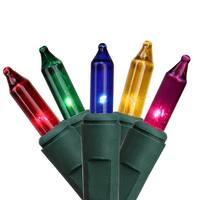 "Set of 100 Multi ConstantON Mini Christmas Lights 5"" Spacing - Green Wire"