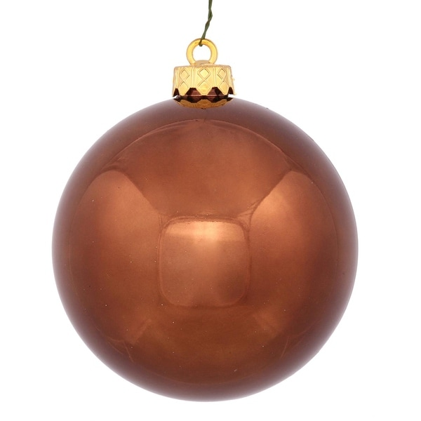 """Shiny Chocolate Brown UV Resistant Commercial Shatterproof Christmas Ball Ornament 6"""" (150mm)"""