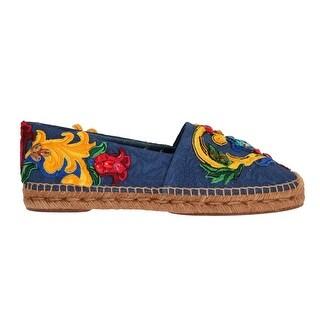 Dolce & Gabbana Blue Brocade Crystal Espadrilles Shoes - eu39-us8-5