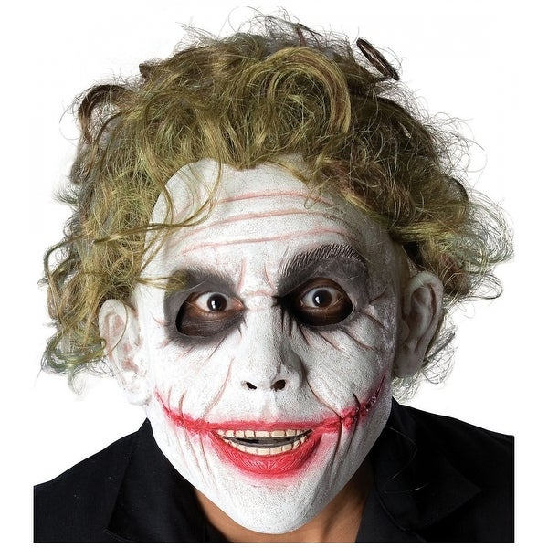Joker Mask with Green Hair Adult Costume Accessory