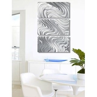 Statements2000 Silver Metal Wall Art Sculpture Panels Decor by Jon Allen - Hypnotic Sands 3P