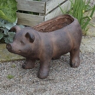 "Set of 2 Lovely Piglet Resin Planter Patio Garden Decor 10"" - Brown"