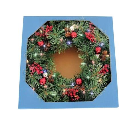 "Celebrations CHL-4PTF7-26 Castle Hill Prelit Christmas Wreath, Green, 26"""