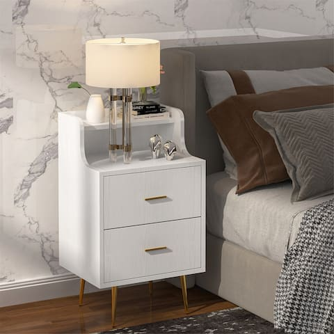 Bedside Table Modern Nightstand with 2 Drawers End Side Table