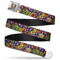 Sugar Skull Starburst Full Color Black Multi Color Colorful Calaveras Seatbelt Belt