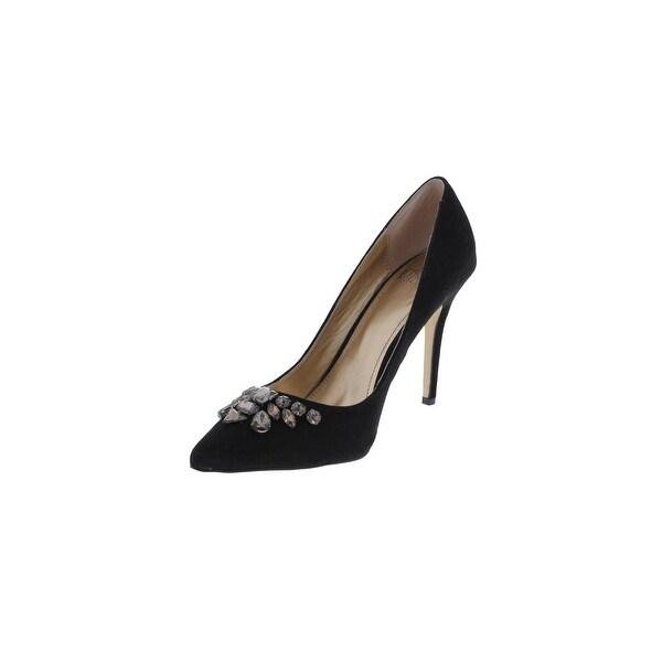 Belle Badgley Mischka Womens Eleanora Evening Heels Embellished Pointed Toe