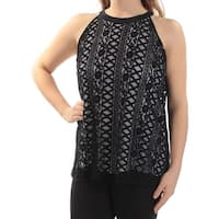 Alfani  Womens Black Jewel Neck Lace Sleeveless Casual Top, Black, Size 16