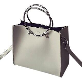 QZUnique Women's Metal Handle Handbags PU Leather Crossbody Bags Shoulder Bag 2 Bags
